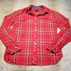 Talbots Red Women's Long Sleeve Flannel Size XS